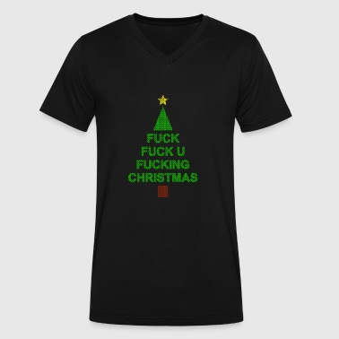 Fuck Ugly ugly christmas sweater knitted tree - Fucking Xmas - Men's V-Neck T-Shirt by Canvas