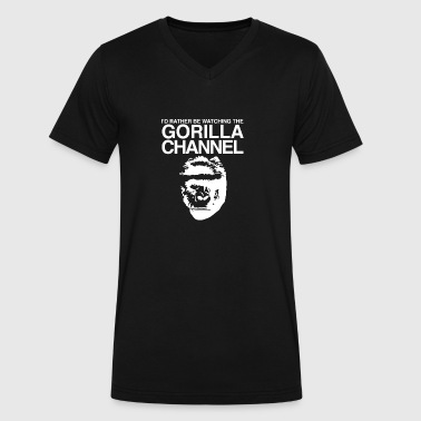 Nature Channel Gorilla Channel Funny - Men's V-Neck T-Shirt by Canvas