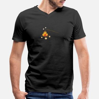 Campfire Marshmallow Campfire with marshmallows - Men's V-Neck T-Shirt