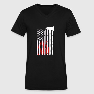 Firefighter Flag - Men's V-Neck T-Shirt by Canvas