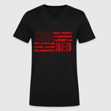 Flag Red  - Men's V-Neck T-Shirt by Canvas