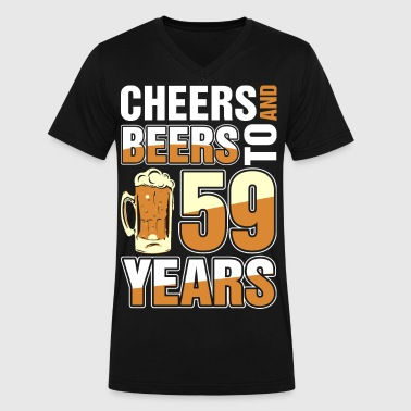 Cheers And Beers To 59 Years - Men's V-Neck T-Shirt by Canvas