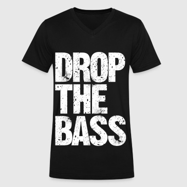 DROP THE BASS (white) - Men's V-Neck T-Shirt by Canvas