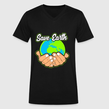 Save the Planet Save Nature Save the World Earth - Men's V-Neck T-Shirt by Canvas