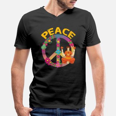 Sayings peace sign shirt for hippies I hippie gift ideas - Men's V-Neck T-Shirt
