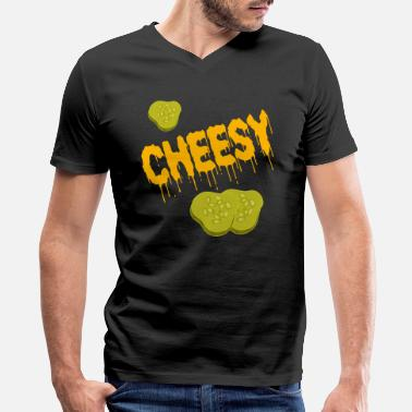 Cheese Addict Funny Cheese TShirt for people who are addicted - Men's V-Neck T-Shirt by Canvas