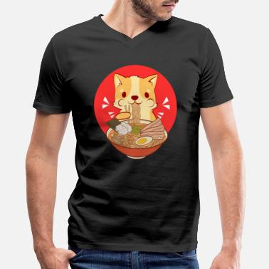 Noodle Bowl Egg Lover Cats Eating Noodles Out Of A Ramen Bowl Tshirt - Men's V-Neck T-Shirt