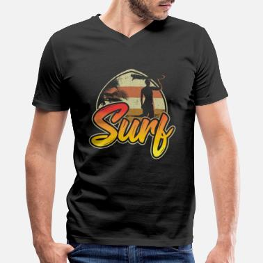 Motif Surfboard Beautiful surf surfing motif with surfers - Men's V-Neck T-Shirt