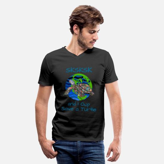 Save The World T-Shirts - SKSKSK and I Oop Save a Turtle 6 - Men's V-Neck T-Shirt black
