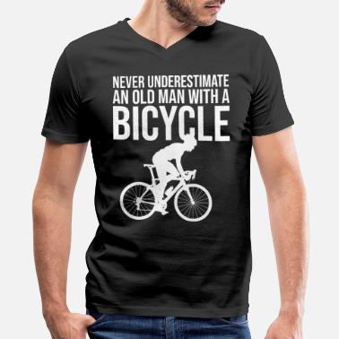 Old Never Underestimate An Old Man With A Bicycle Tee - Men's V-Neck T-Shirt