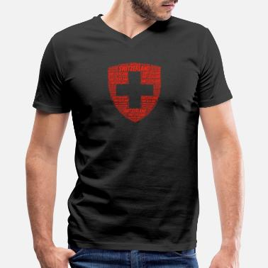 Swiss Cross Coat of arms of Switzerland - Men's V-Neck T-Shirt by Canvas
