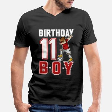 11 Year Old 11 Year Old Dabbing Soccer Player 11th BDay - Men's V-Neck T-Shirt by Canvas