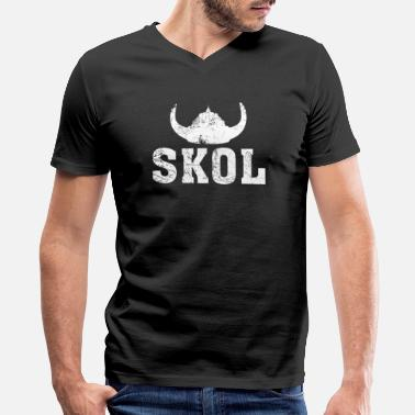 Skol Vikings Skol Helmet Distressed Viking - Men's V-Neck T-Shirt by Canvas