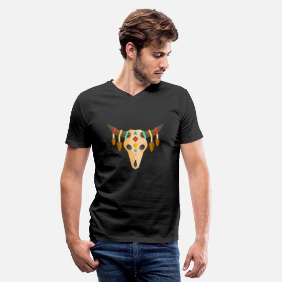Skull T-Shirts - Mexican Sugar Skull Day of the Dead - Men's V-Neck T-Shirt black