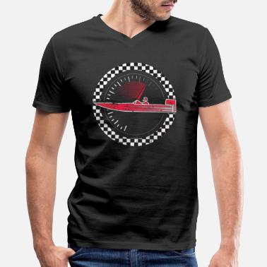 Boat Boat Racing Shirt Love Speed Boat Racing Shirt Checkered Flag Motorboat Shirt - Men's V-Neck T-Shirt