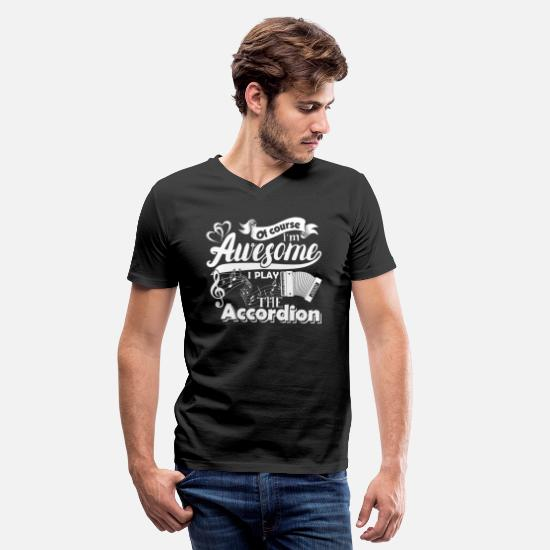 Accordion T-Shirts - Accordion Shirt - Men's V-Neck T-Shirt black