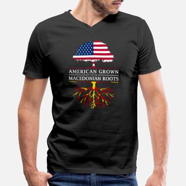 Macedonian American Grown with Macedonian Roots Macedonia Design - Men's V-Neck T-Shirt by Canvas