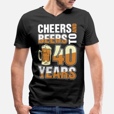 Celebrating 40 Years Cheers And Beers To 40 Years - Men's V-Neck T-Shirt by Canvas