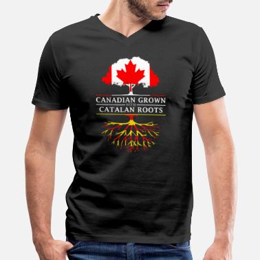 Catalan Canadian Grown with Catalan Roots Catalonia Design - Men's V-Neck T-Shirt by Canvas