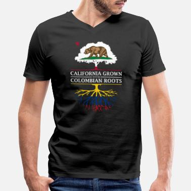 Colombian Roots California Grown with Colombian Roots - Men's V-Neck T-Shirt by Canvas