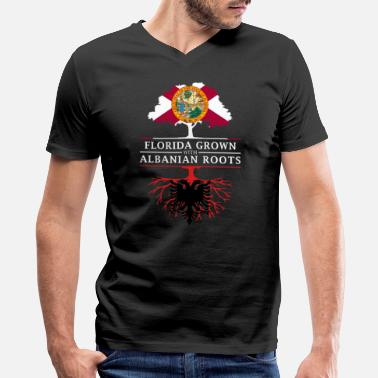 Albanian Designs Florida Grown with Albanian Roots Design - Men's V-Neck T-Shirt by Canvas
