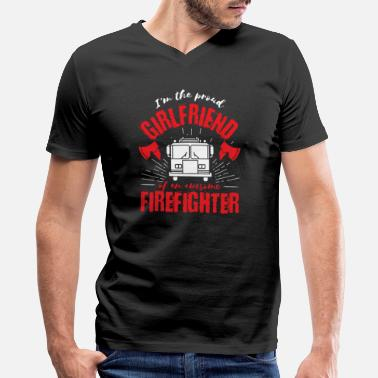 Sleep With A Firefighter Firefighter Family Proud Girlfriend Fire Truck - Men's V-Neck T-Shirt by Canvas