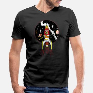Shuttle Launch Retro rocket ship launching outer space shuttle - Men's V-Neck T-Shirt by Canvas