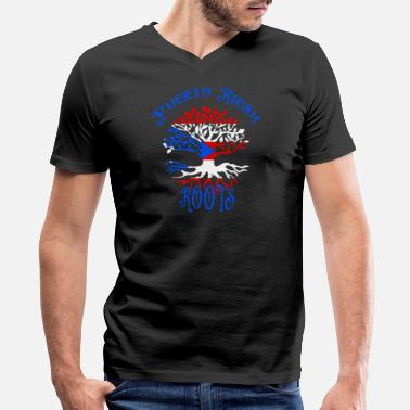 Ancestry Puerto Rican Roots Family Tree Flag Ancestry Heritage - Men's V-Neck T-Shirt