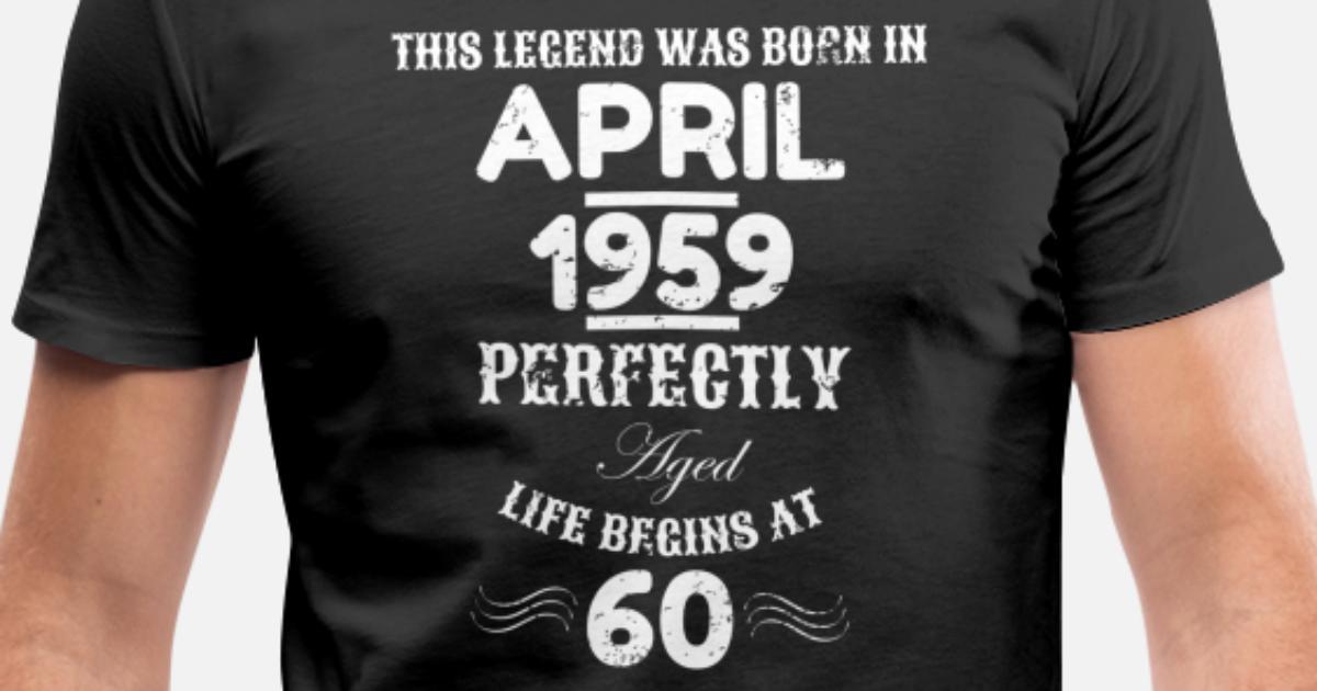 This Legend Was Born April 1959 60th Birthday Men's V-Neck ...