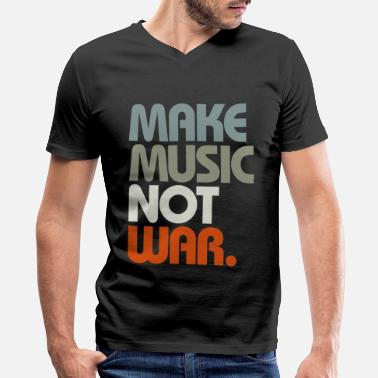 House Make Music Not War (Retro) - Men's V-Neck T-Shirt