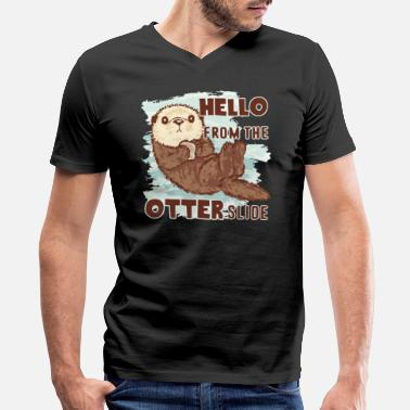 Hello From The Otter Slide Otter Tee Shirt - Men's V-Neck T-Shirt by Canvas