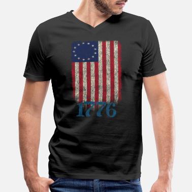 f7cae3cd6f7f7 Betsy Ross 4th Of July American Flag 1776 Retro - Men's V. Men's V-Neck  T-Shirt