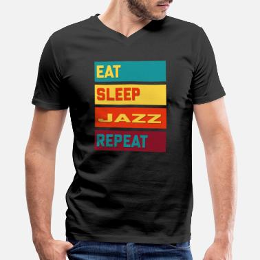 Boogiewoogie Eat Sleep Jazz Repeat Hipster Edition - Men's V-Neck T-Shirt