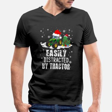 Distracted Tractors Farmer Easily Distracted By Tractor - Men's V-Neck T-Shirt