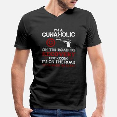 Long Range Shooting Gunaholic Tee Shirt - Men's V-Neck T-Shirt