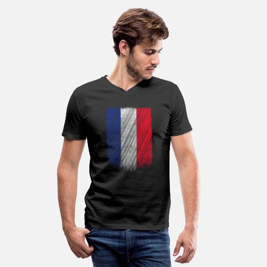 Flag T-Shirts - French Flag Shirt France Flag T shirt Wavy Retro Design - Men's V-Neck T-Shirt black
