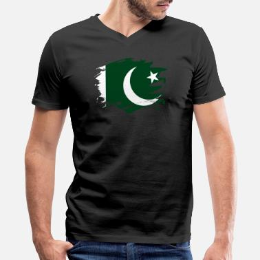 Pakistani Pakistan Paint Splatter Flag Pakistani Pride Design - Men's V-Neck T-Shirt by Canvas