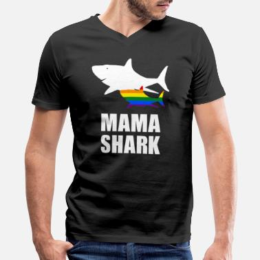 Gay Diving Shark Lesbian Daughter Gay Son with Mama - Men's V-Neck T-Shirt by Canvas