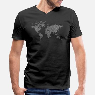Go Text Yourself World Map as a Mandala - Go find yourself White - Men's V-Neck T-Shirt by Canvas