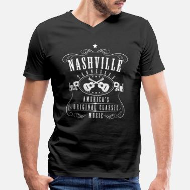Nashville Country Music Nashville Tennessee - Country Music City - Men's V-Neck T-Shirt by Canvas