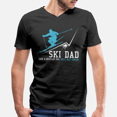 Skiing Dad Ski Dad - Men's V-Neck T-Shirt by Canvas