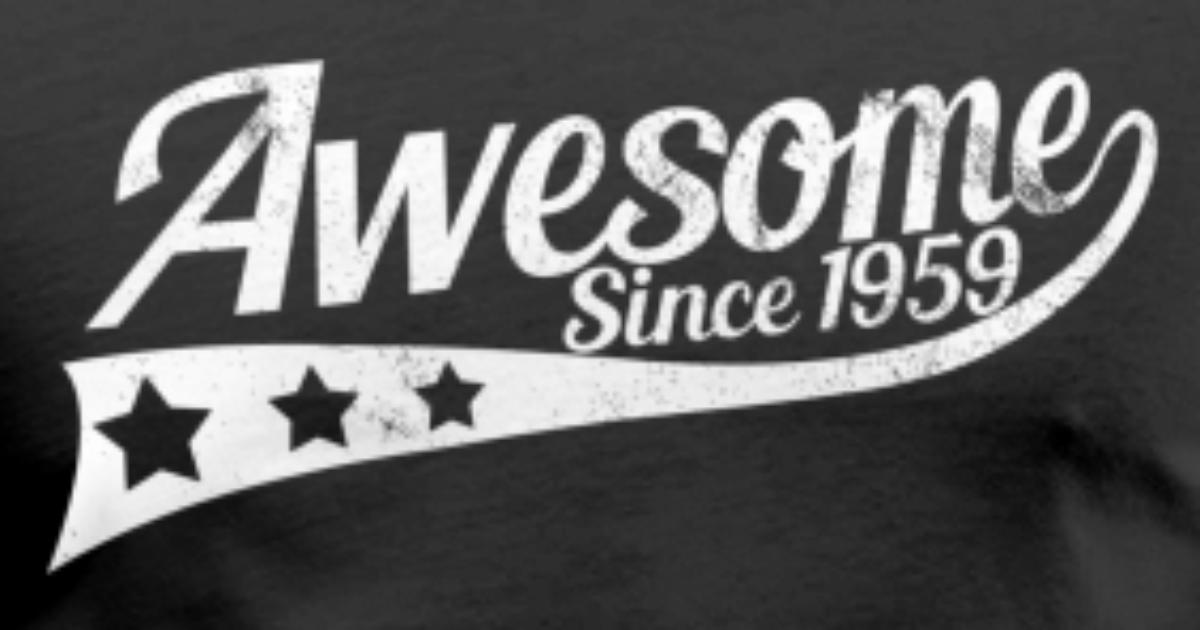 Awesome Since 1959 - 60th Birthday Funny Gift Men's V-Neck ...