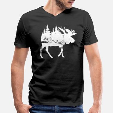 Mountain Moose Nature Mountains Hiking Camping Hunter Gift - Men's V-Neck T-Shirt