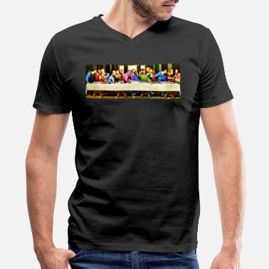 Last Supper The Last Sucker - Men's V-Neck T-Shirt by Canvas