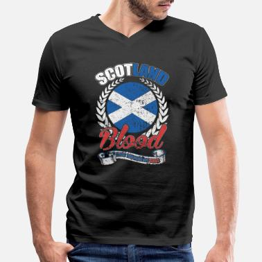 Specify Scotland Blood Runs Through My Veins Gift - Men's V-Neck T-Shirt by Canvas