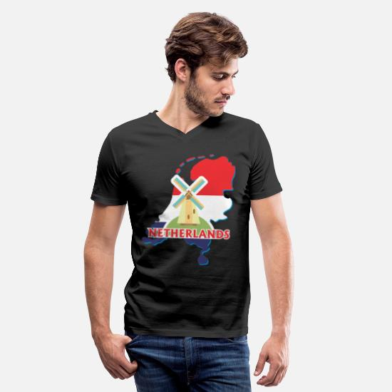 Country T-Shirts - Netherlands - Men's V-Neck T-Shirt black