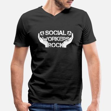 Social Workers Rock Social Workers Rock Shirt - Men's V-Neck T-Shirt by Canvas