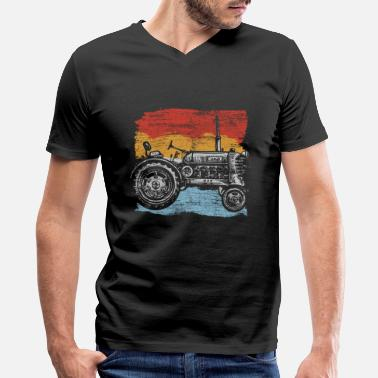 Tractor Farming Tractor Farm Farmer Tractors Tractor Pulling Gift - Men's V-Neck T-Shirt by Canvas