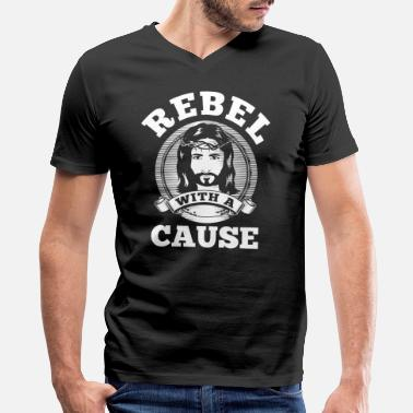 Christian Causes Rebel with a cause WHITE CLEAN SKIN print - Men's V-Neck T-Shirt by Canvas
