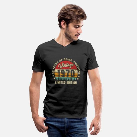 Awesome T-Shirts - Vintage 1970 50 years old Awesome 50th Birthday - Men's V-Neck T-Shirt black